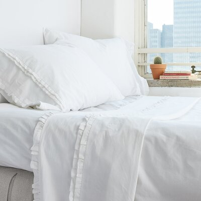 Dainty Ruffle Cotton Sheet Set Size: Twin, Color: White