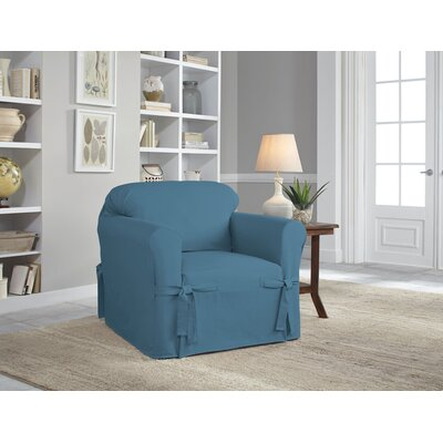 Cotton Duck Box Cushion Armchair Slipcover Upholstery: Indigo