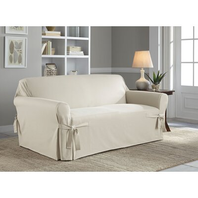 Cotton Duck Box Cushion Loveseat Slipcover Upholstery: Natural