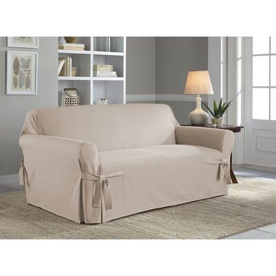 Cotton Duck Box Cushion Loveseat Slipcover Upholstery: Khaki
