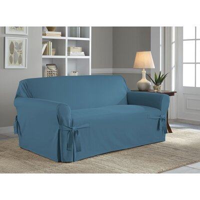 Cotton Duck Box Cushion Loveseat Slipcover Upholstery: Indigo