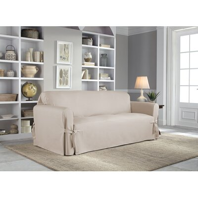 Cotton Duck Box Cushion Sofa Slipcover Upholstery: Khaki