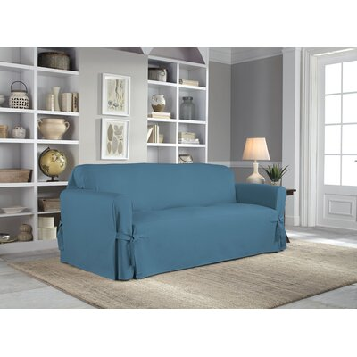 Cotton Duck Box Cushion Sofa Slipcover Upholstery: Indigo
