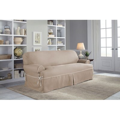Twill T-Cushion Sofa Slipcover