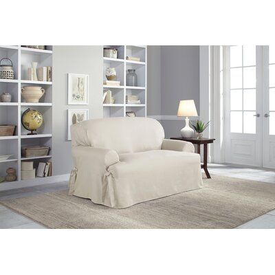 Cotton Duck T-Cushion Loveseat Slipcover Upholstery: Natural