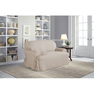 Cotton Duck T-Cushion Loveseat Slipcover Upholstery: Khaki