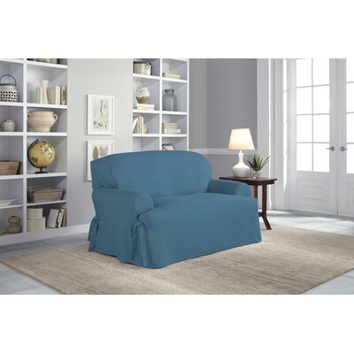Duck T-Loveseat T-Cushion Skirted Slipcover Upholstery: Indigo