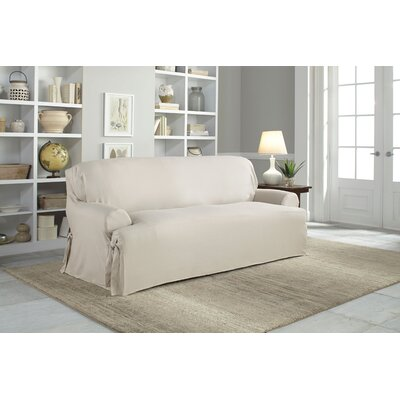 Cotton Duck T-Cushion Sofa Slipcover Upholstery: Natural