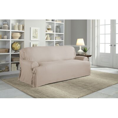 Cotton Duck T-Cushion Sofa Slipcover Upholstery: Khaki