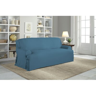 Cotton Duck T-Cushion Sofa Slipcover Upholstery: Indigo
