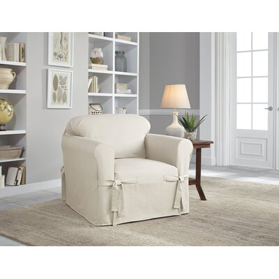 Cotton Duck Chair Slipcover Upholstery: Natural