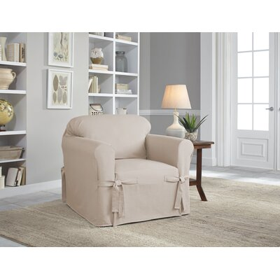 Cotton Duck Chair Slipcover Upholstery: Khaki