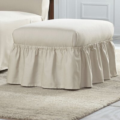 Cotton Duck Ruffle Ottoman Slipcover Upholstery: Natural