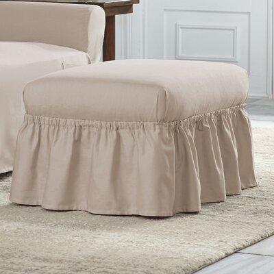 Cotton Duck Ruffle Ottoman Slipcover Upholstery: Khaki