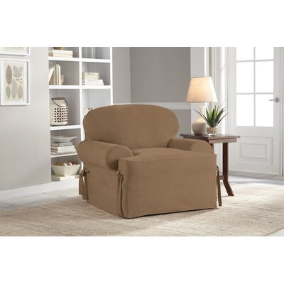 Armchair T-Cushion Slipcover Upholstery: Taupe