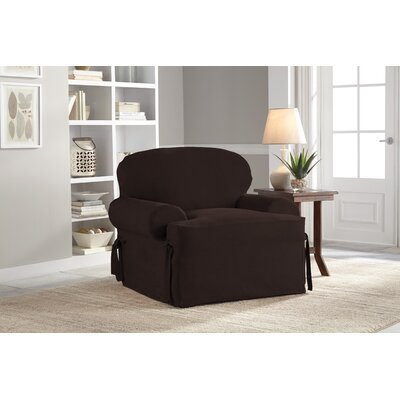 T-Cushion Armchair Slipcover Upholstery: Chocolate