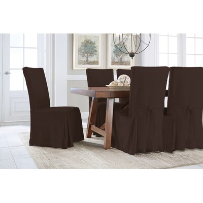 Dining Chair Regular Slipcover (Set of 2) Upholstery: Chocolate