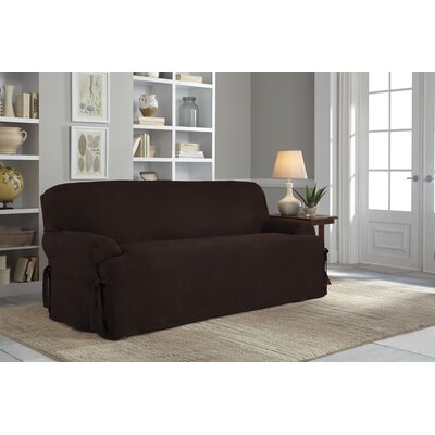 Sofa T-Cushion Slipcover Upholstery: Chocolate