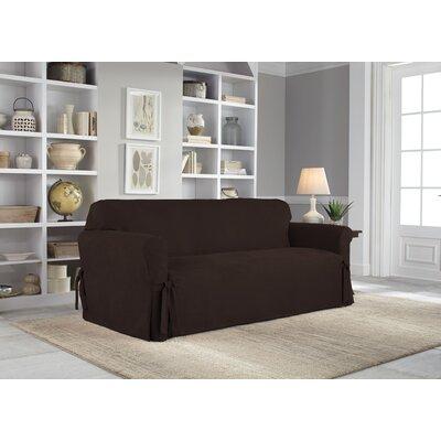 Box Cushion Sofa Slipcover Upholstery: Chocolate