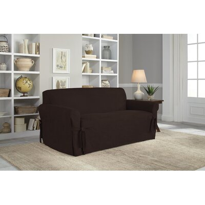 Loveseat Slipcover Upholstery: Chocolate