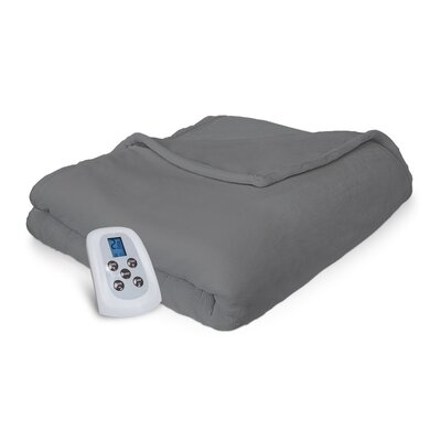 Comfort Plush Electric Heated Blanket Size: King, Color: Gray