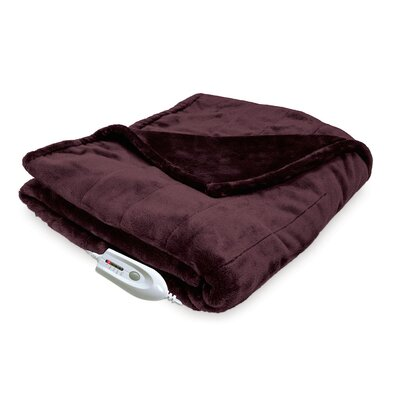 Silky Plush Electric Heated Throw Color: Chocolate