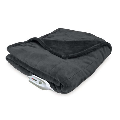 Silky Plush Electric Heated Throw Color: Gray