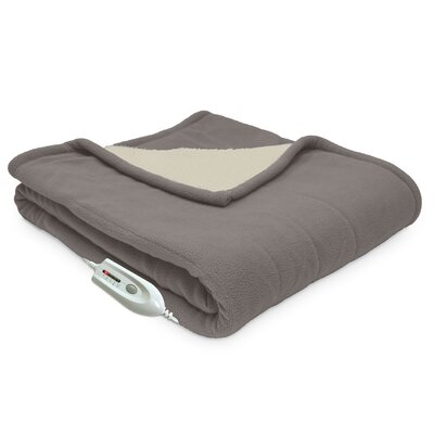 Sherpa Reversible Electric Heated Throw Blanket Color: Beige