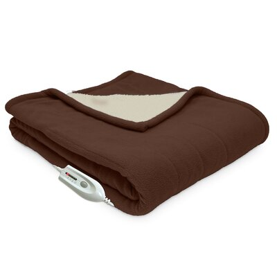 Sherpa Reversible Electric Heated Throw Blanket Color: Chocolate