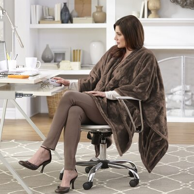 Snuggler Electric Heated Cape and Throw Blanket Color: Chocolate