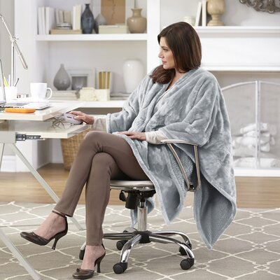Snuggler Electric Heated Cape and Throw Blanket Color: Gray