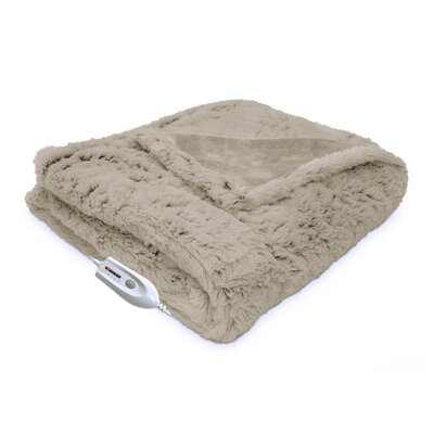 Faux Fur Reversible Electric Heated Throw Color: Taupe
