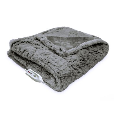 Faux Fur Reversible Electric Heated Throw Color: Gray