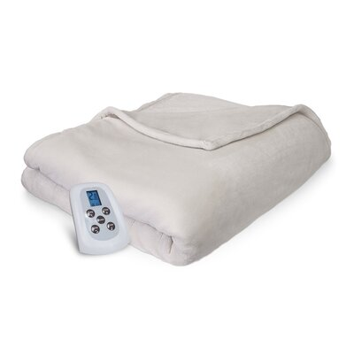 Comfort Plush Electric Heated Blanket Color: Ivory, Size: Queen