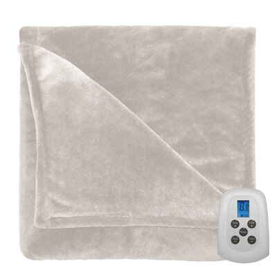 Comfort Plush Electric Heated Blanket Color: Sand, Size: Twin