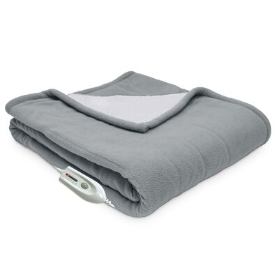 Sherpa Reversible Electric Heated Throw Blanket Color: Gray