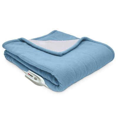 Sherpa Reversible Electric Heated Throw Blanket Color: Slate Blue