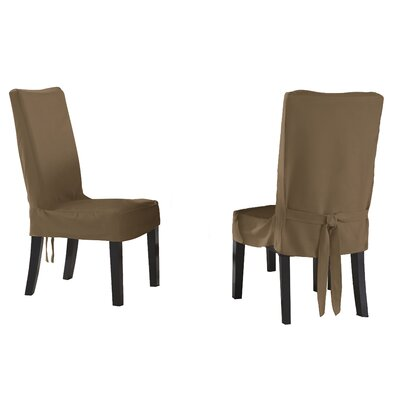 Dining Chair Short Slipcover Upholstery: Taupe
