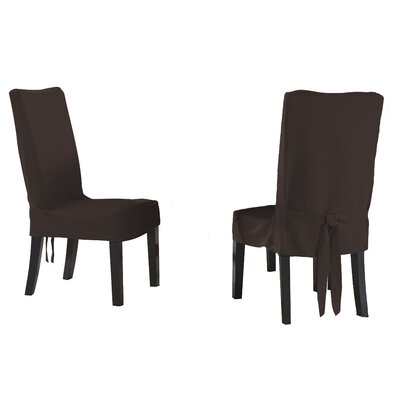Dining Chair Short Slipcover Upholstery: Chocolate
