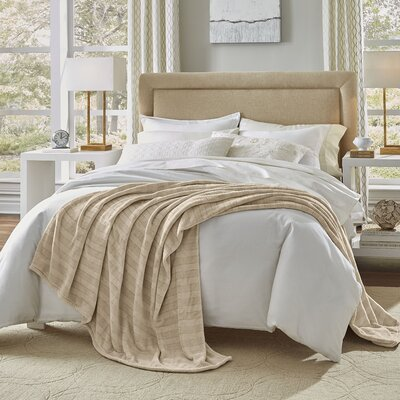 Damask Stripe Blanket Size: King, Color: Tan