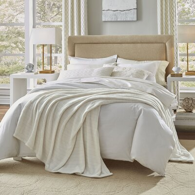 Damask Stripe Blanket Size: Twin, Color: Ivory