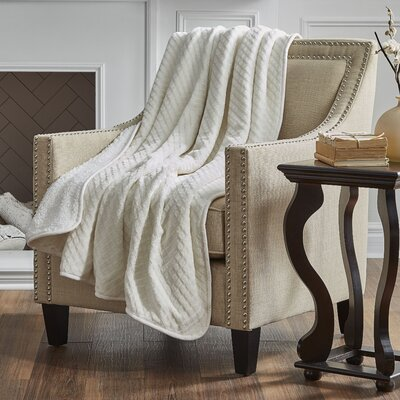 Reversible Embossed Sherpa Throw Color: Ivory