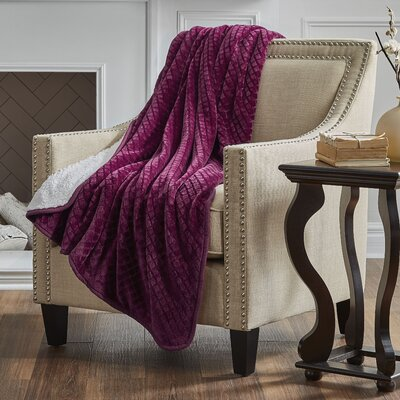 Reversible Embossed Sherpa Throw Color: Berry