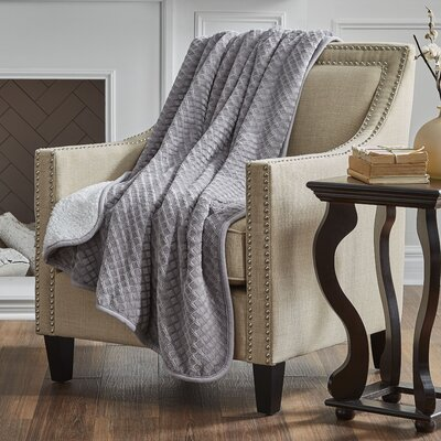 Reversible Embossed Sherpa Throw Color: Gray