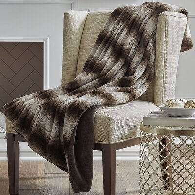 Reversible Striped Mink Faux Fur Throw