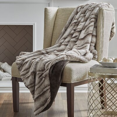 Reversible Pleated Rabbit Faux Fur Throw