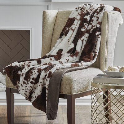 Reversible Cow Faux Fur Throw