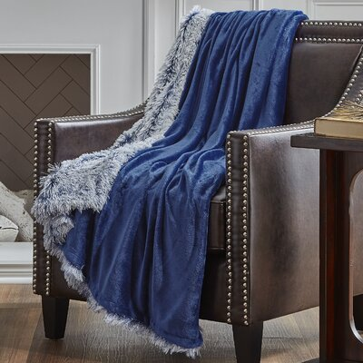 Reversible Frosted Throw Color: Navy