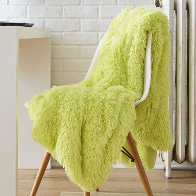 Reversible Retro Shag Throw Color: Lime Green