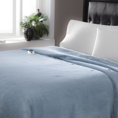 Serta Luxe Plush Micro Fleece Electric Blanket Color: Sapphire, Size: Queen